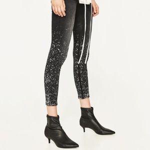 Zara Paint Splattered Crop Jeans